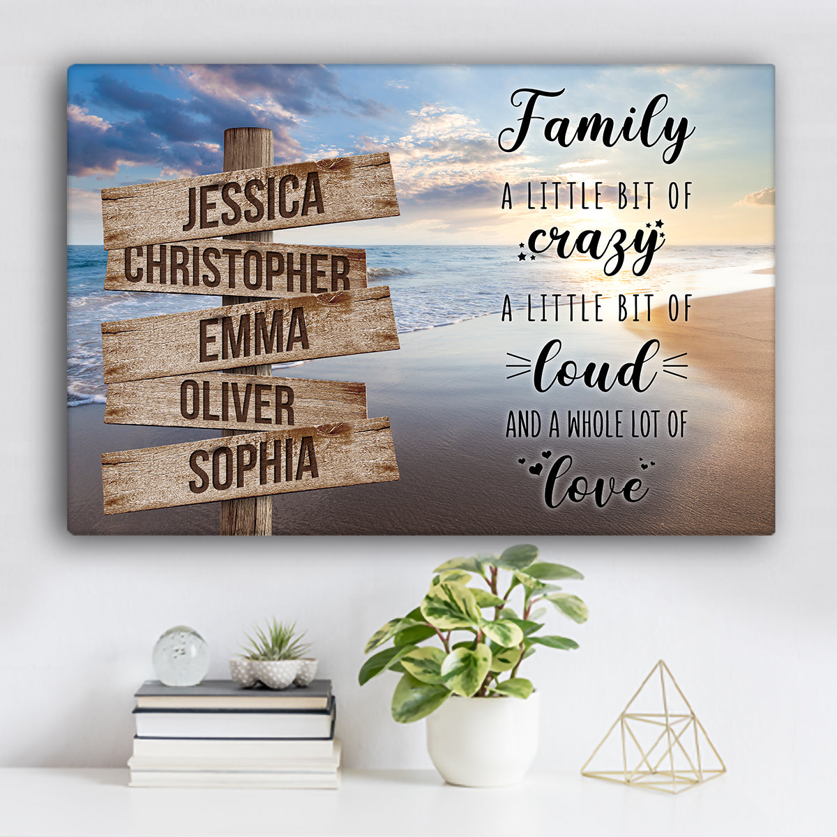 "Beach V8 Color Family Names ""Crazy, Loud, Love"" Premium Canvas"
