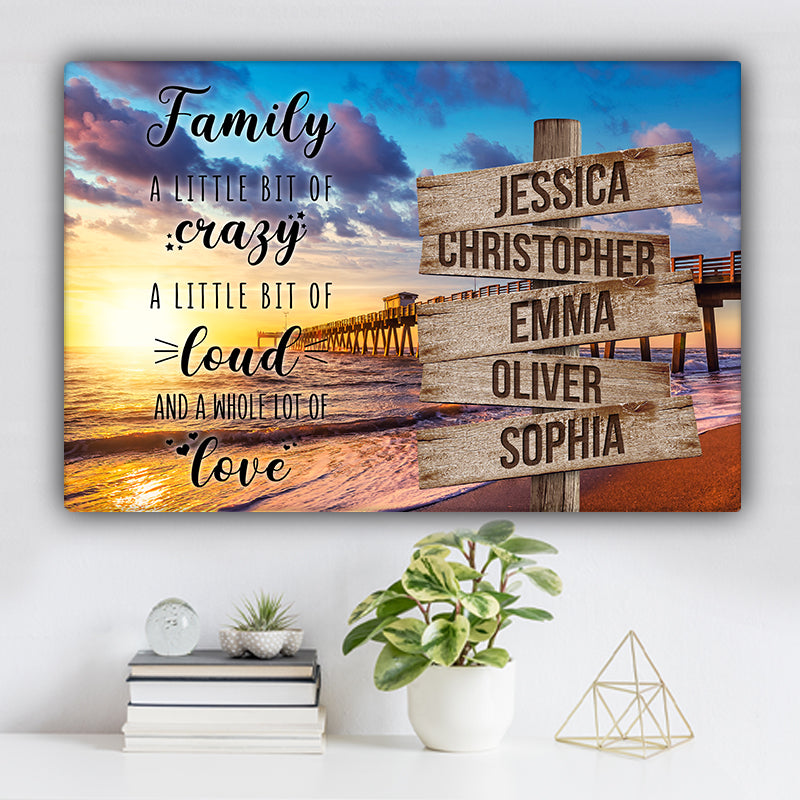 "Beach Dock V1 Color Family ""Crazy, Loud, Love"" Names Premium Canvas"