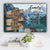 "Mountain and Lake Dock V1 Color Family ""Crazy, Loud, Love"" Names Premium Canvas"