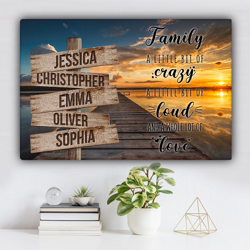 "Lake Dock V1 Color Family ""Crazy, Loud, Love"" Names Premium Canvas"