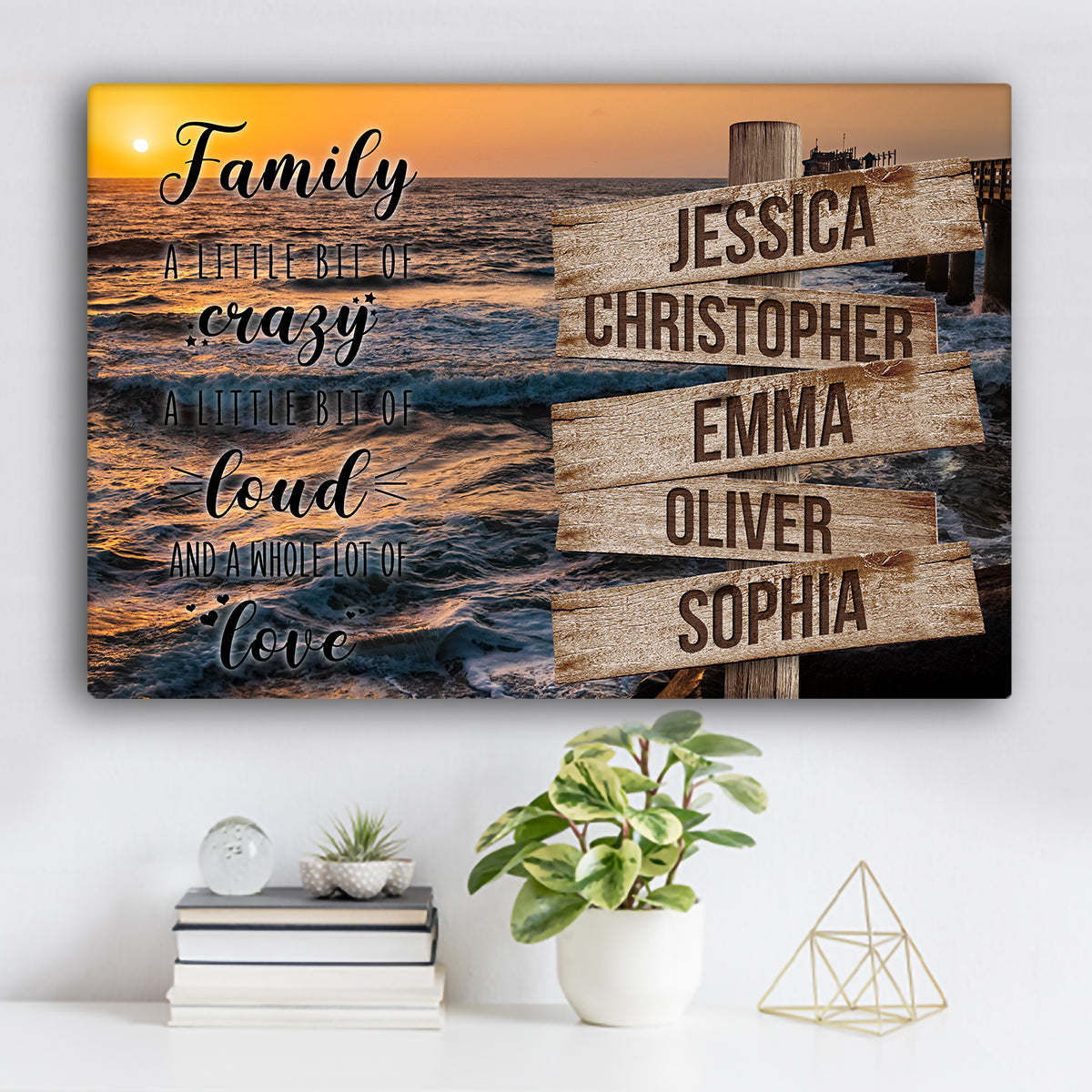 "Ocean Dock V2 Color Family ""Crazy, Loud, Love"" Names Premium Canvas"