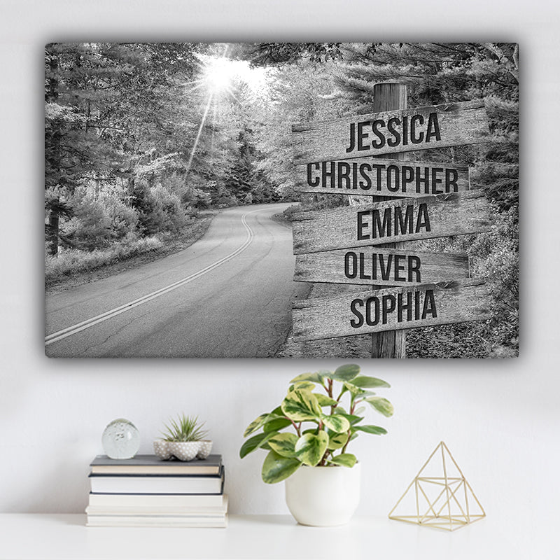 Autumn Road Family Names Premium Canvas