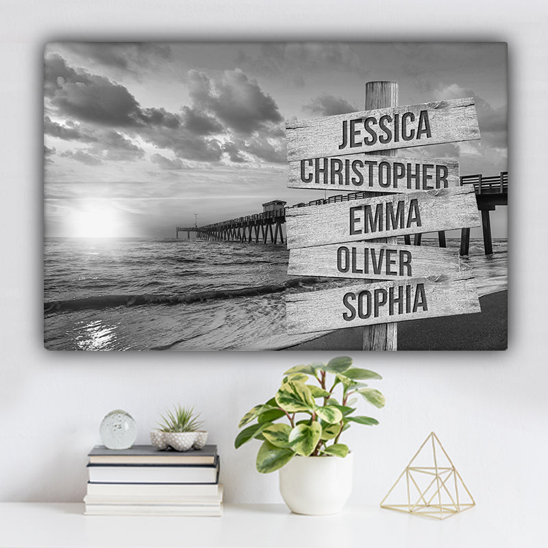 Beach Dock V1 Family Names Premium Canvas