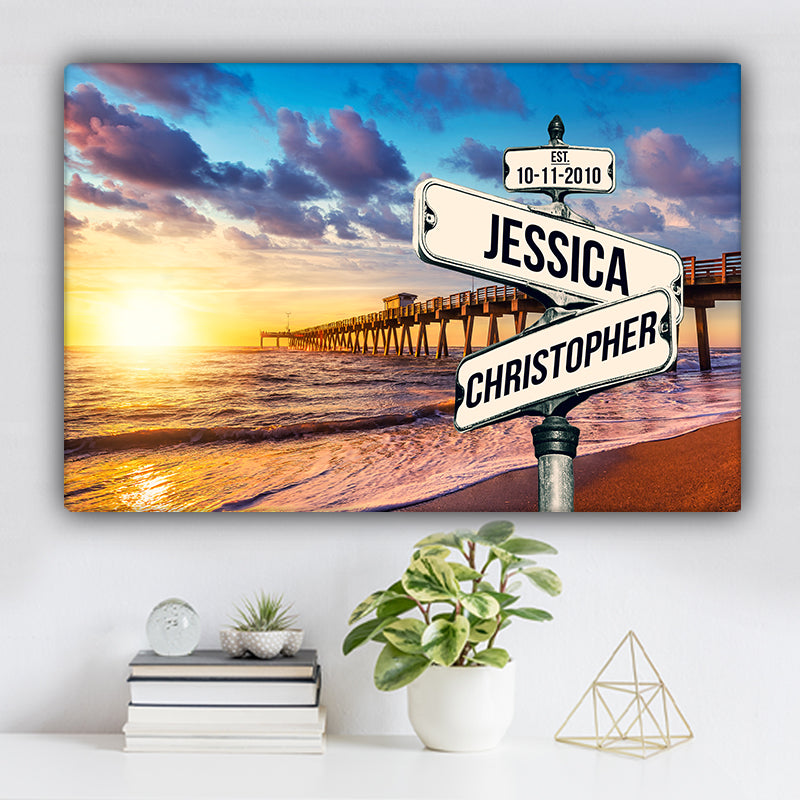Beach Dock V1 Color Established Date & Names Premium Canvas