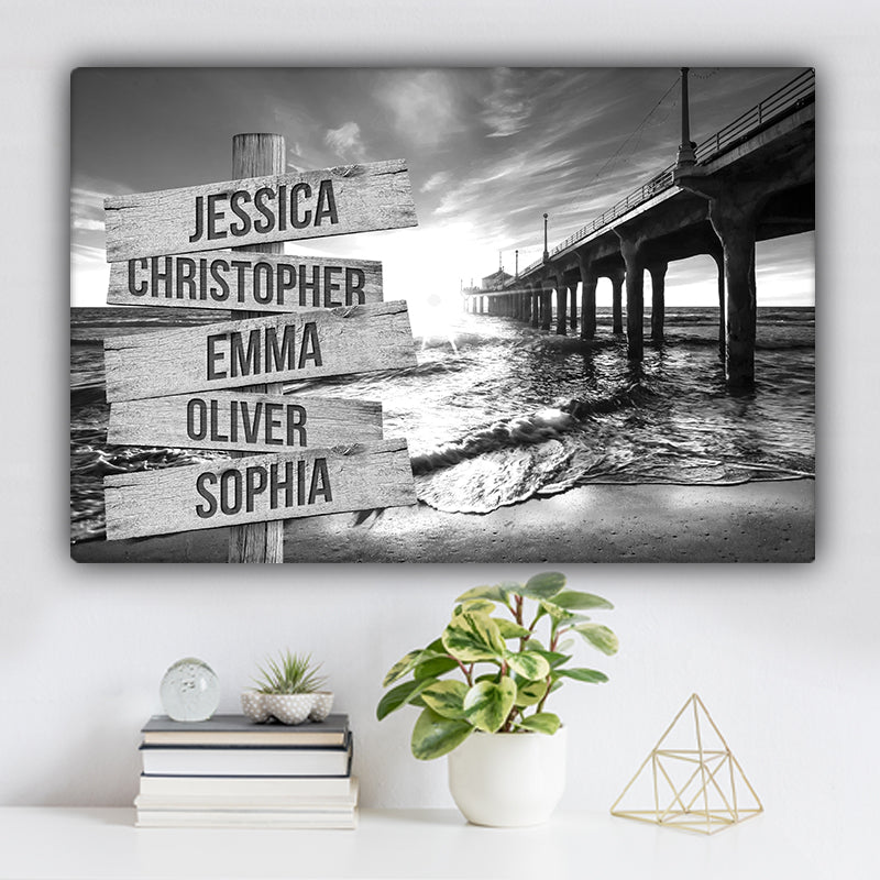 Beach V1 Family Names Premium Canvas