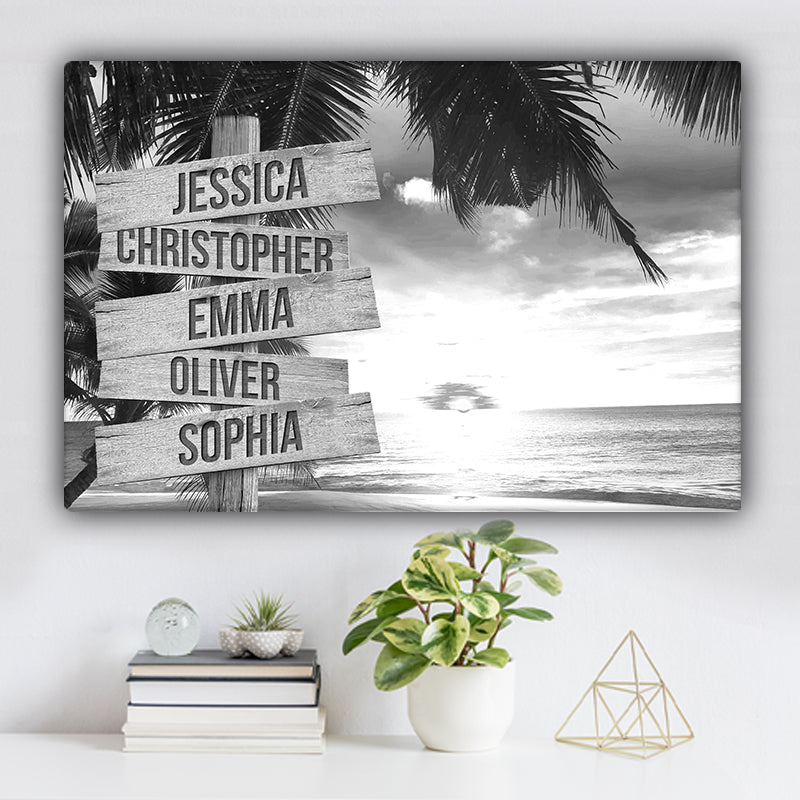 Beach V2 Family Names Premium Canvas