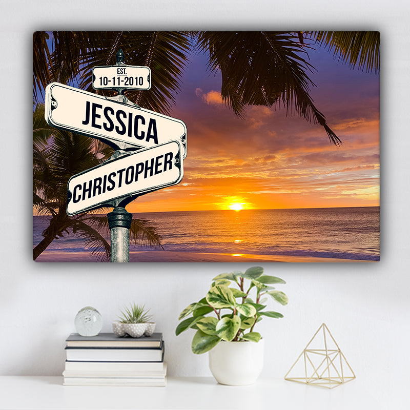 Beach V2 Color Established Date & Names Premium Canvas