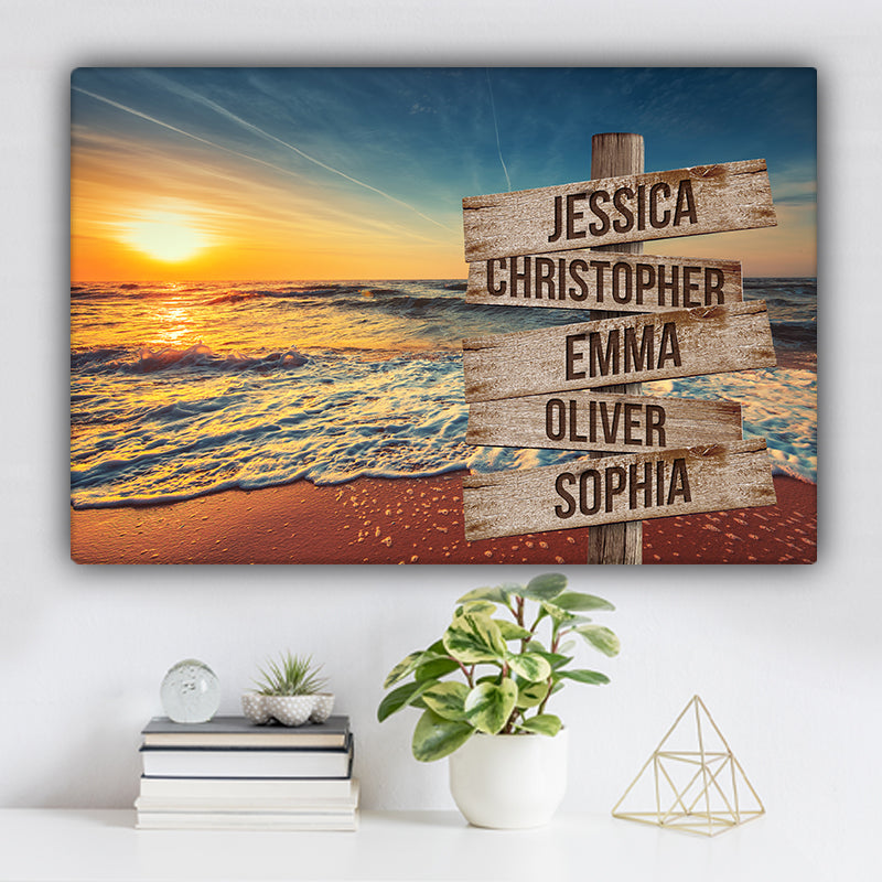 Beach V4 Color Family Names Premium Canvas