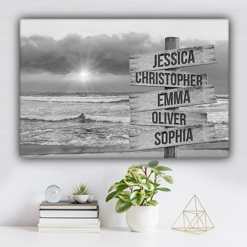 Beach V5 Family Names Premium Canvas