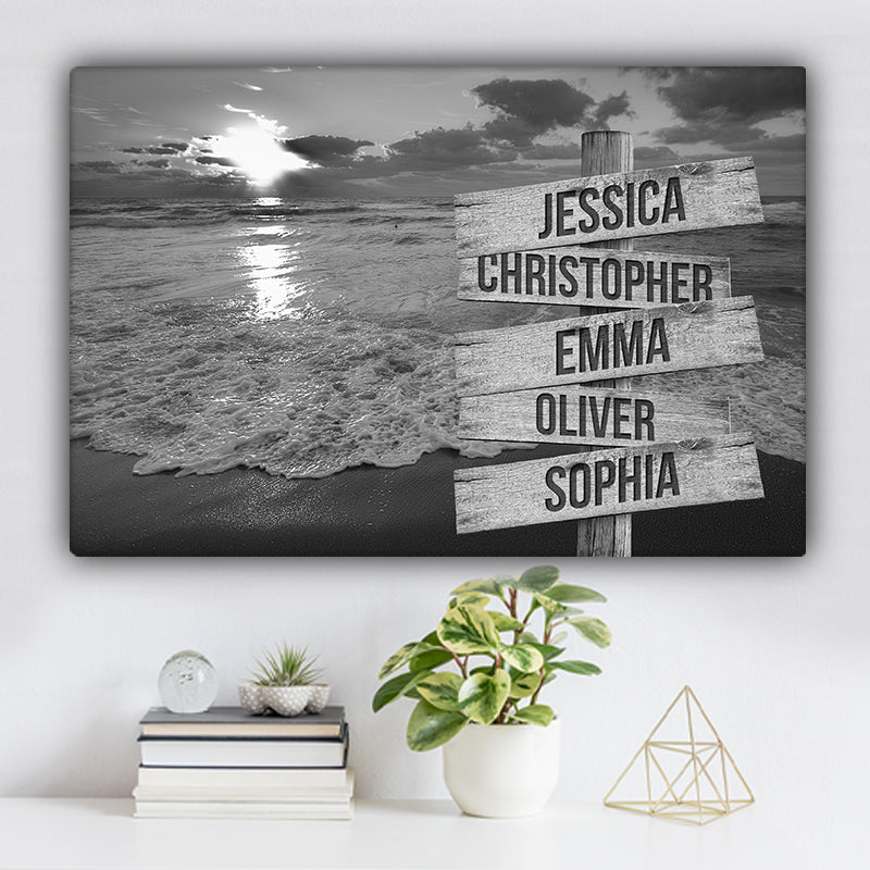 Beach V6 Family Names Premium Canvas