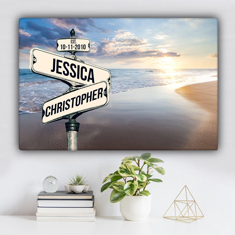 Beach V8 Color Established Date & Names Premium Canvas