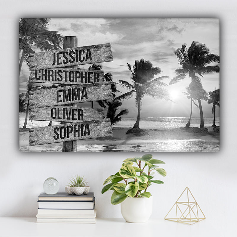 Beach and Palm Trees V1 Family Names Premium Canvas