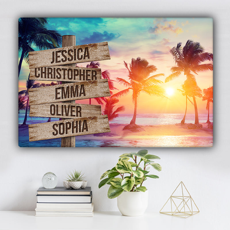 Beach and Palm Trees V1 Color Family Names Premium Canvas