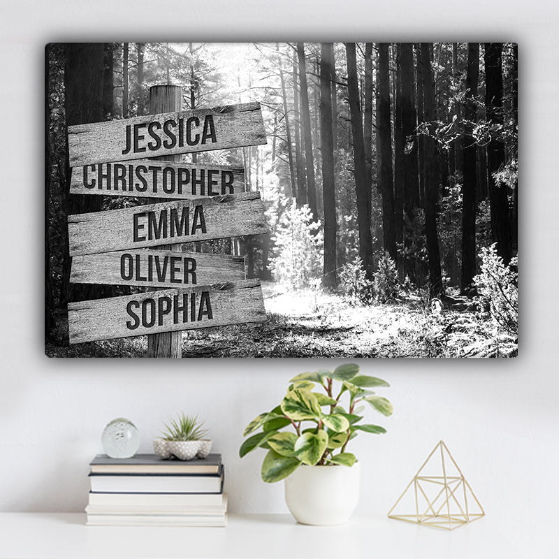 Forest During Autumn V1 Family Names Premium Canvas
