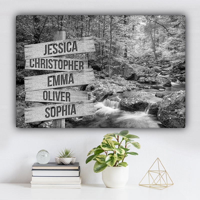 Forest Stream During Autumn Family Names Premium Canvas