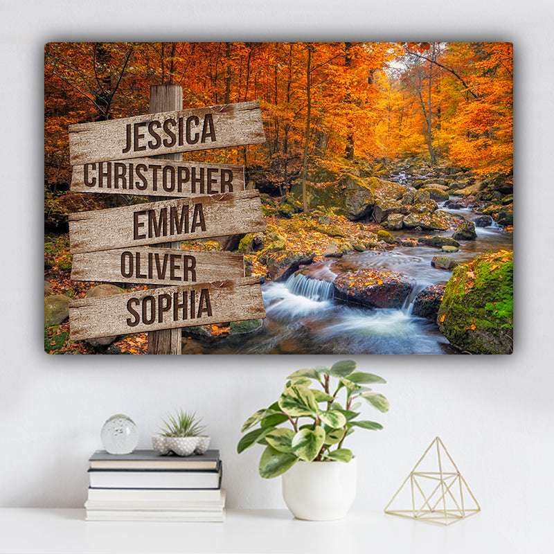 Forest Stream During Autumn Color Family Names Premium Canvas