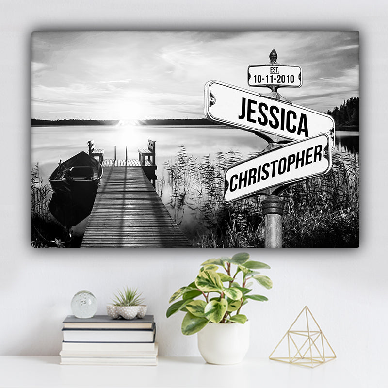 Lake Dock V2 Established Date & Names Premium Canvas