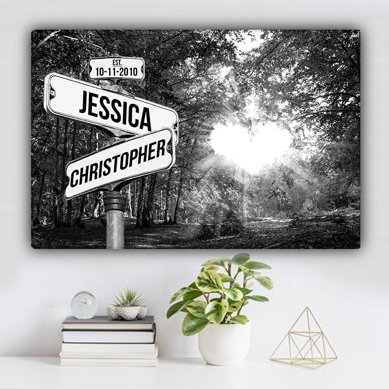 Love Canopy Established Date & Names Premium Canvas