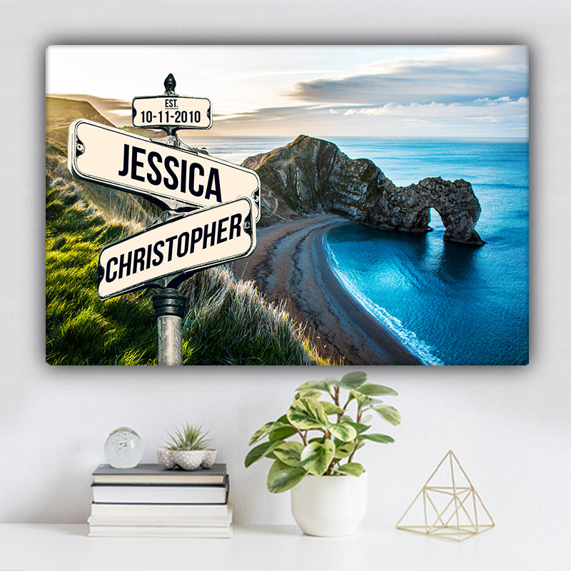 Mountain and Ocean V1 Color Established Date & Names Premium Canvas
