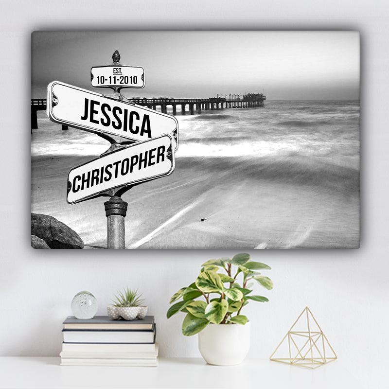 Ocean Dock V1 Established Date & Names Premium Canvas