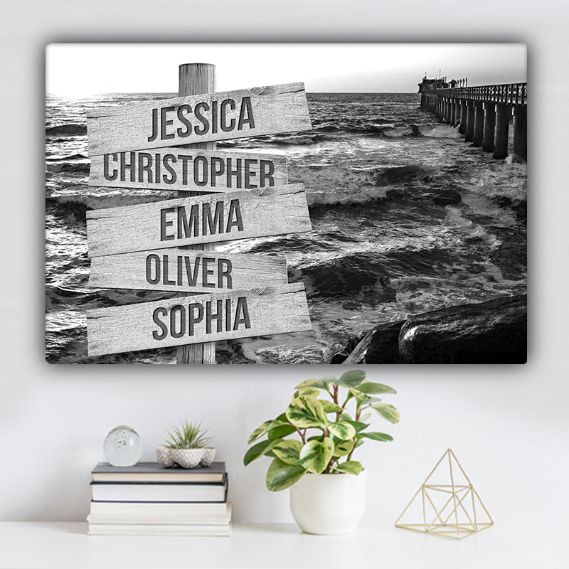 Ocean Dock V2 Family Names Premium Canvas