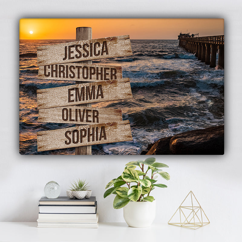 Ocean Dock V2 Color Family Names Premium Canvas