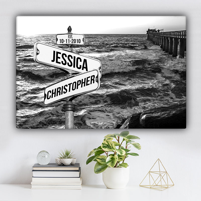 Ocean Dock V2 Established Date & Names Premium Canvas