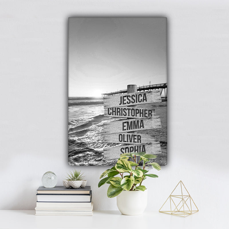 Ocean Dock V3 Family Names Premium Canvas