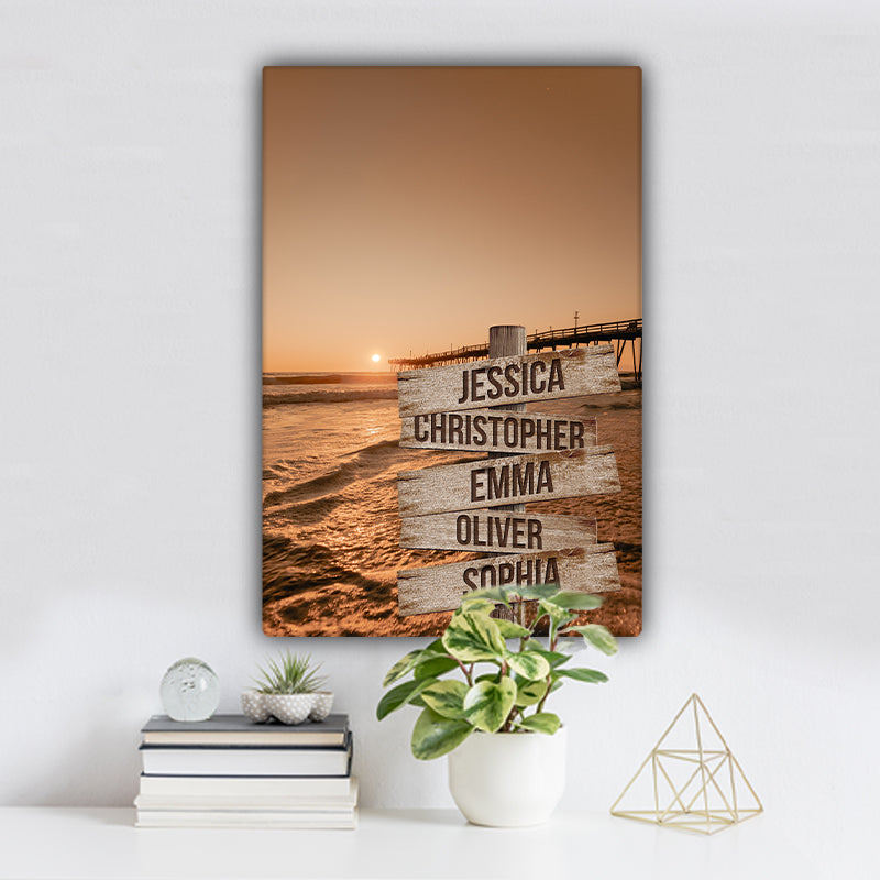 Ocean Dock V3 Color Family Names Premium Canvas