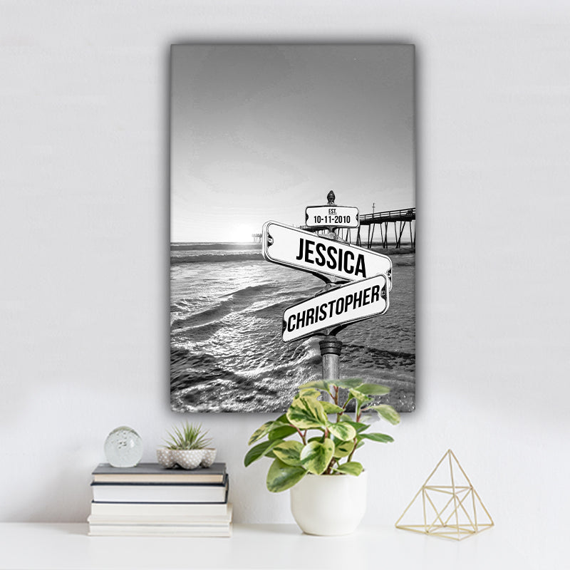 Ocean Dock V3 Established Date & Names Premium Canvas