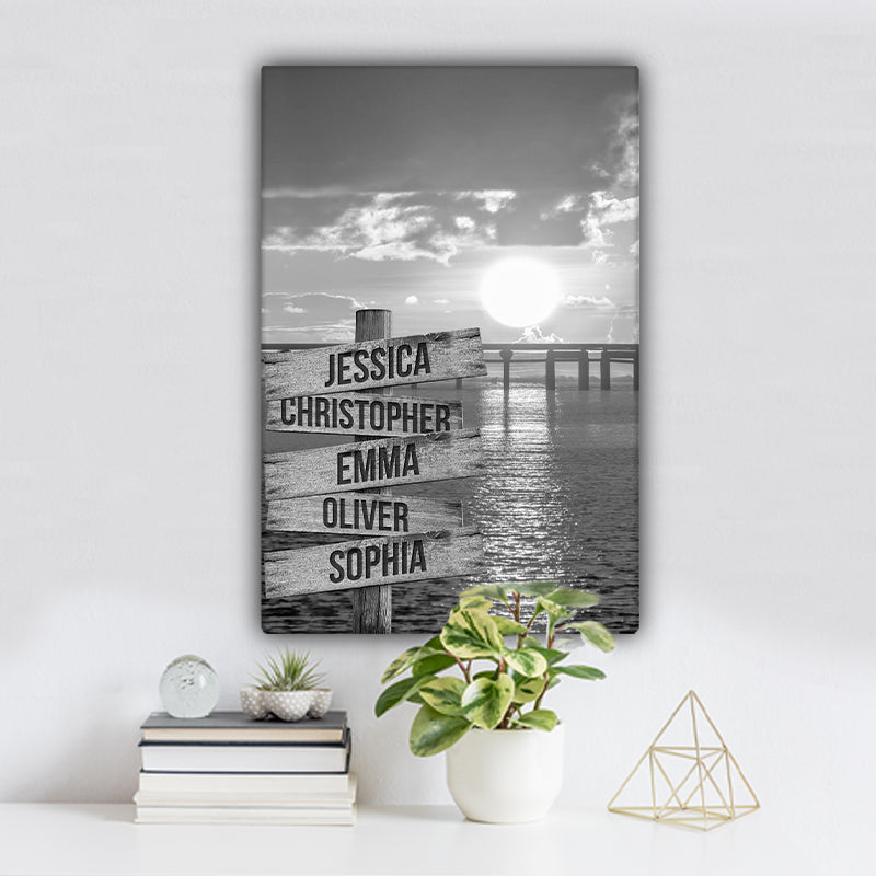 Ocean Dock V4 Family Names Premium Canvas