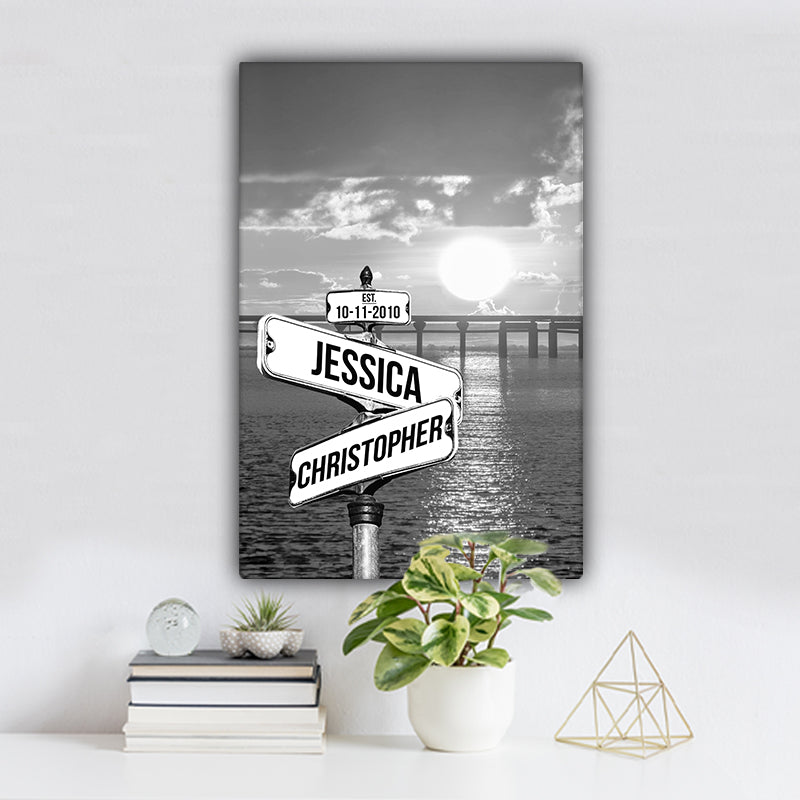 Ocean Dock V4 Established Date & Names Premium Canvas