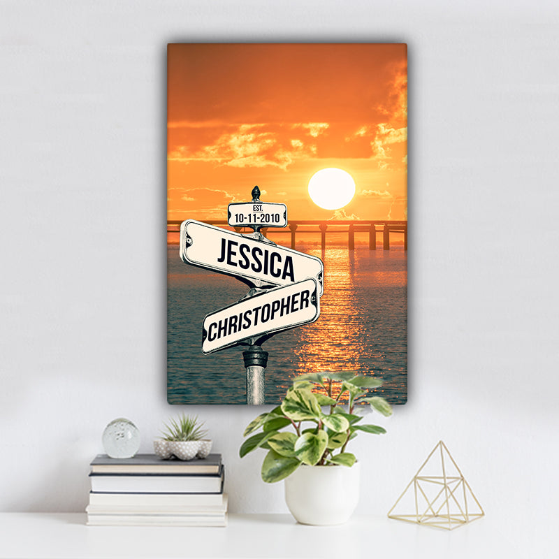 Ocean Dock V4 Color Established Date & Names Premium Canvas