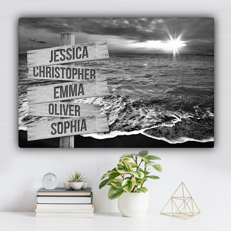 Ocean Sunrise V1 Family Names Premium Canvas