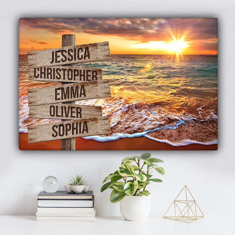 Ocean Sunrise V1 Color Family Names Premium Canvas