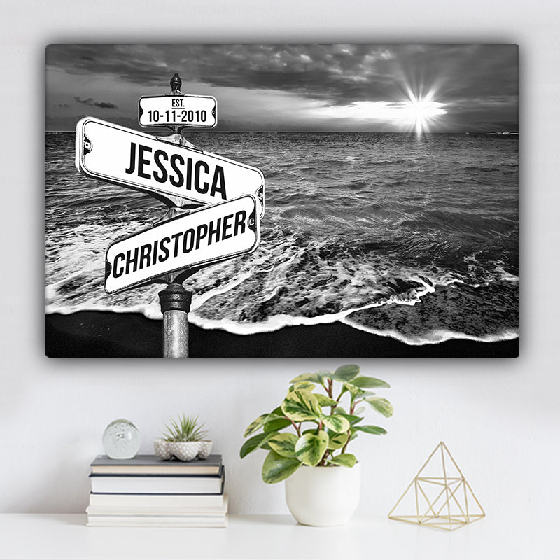 Ocean Sunrise V1 Established Date & Names Premium Canvas