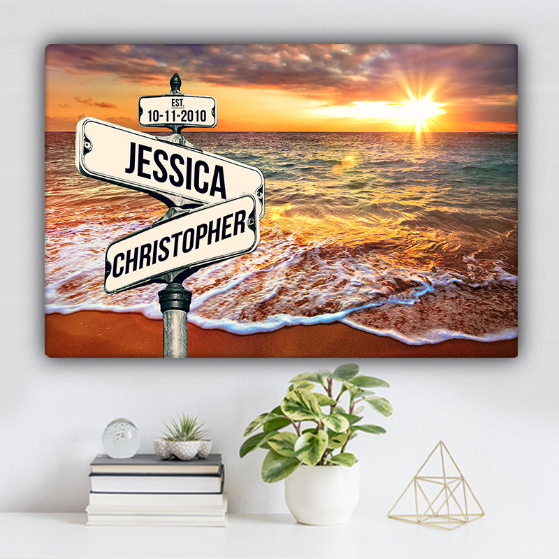 Ocean Sunrise V1 Color Established Date & Names Premium Canvas