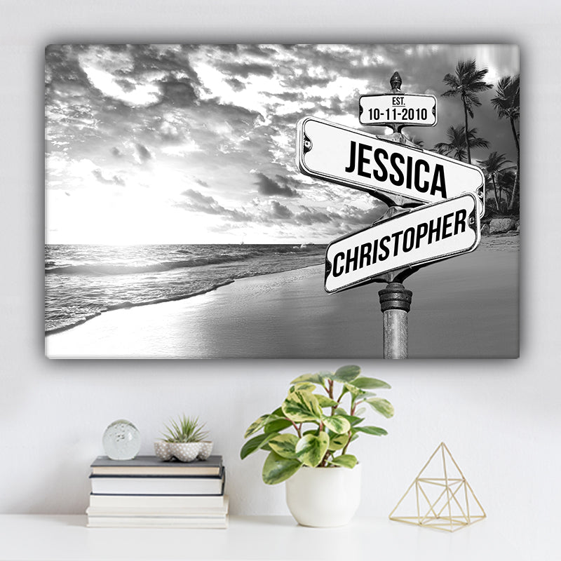 Ocean and Palm Trees V1 Established Date & Names Premium Canvas