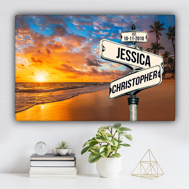 Ocean and Palm Trees V1 Color Established Date & Names Premium Canvas