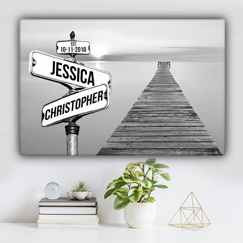 Sea Dock V1 Established Date & Names Premium Canvas