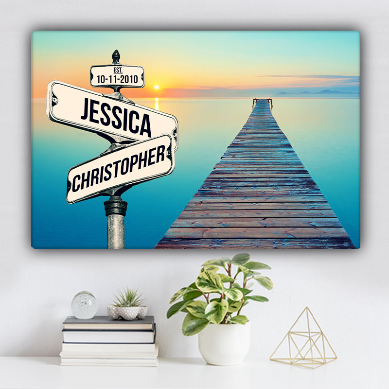 Sea Dock V1 Color Established Date & Names Premium Canvas