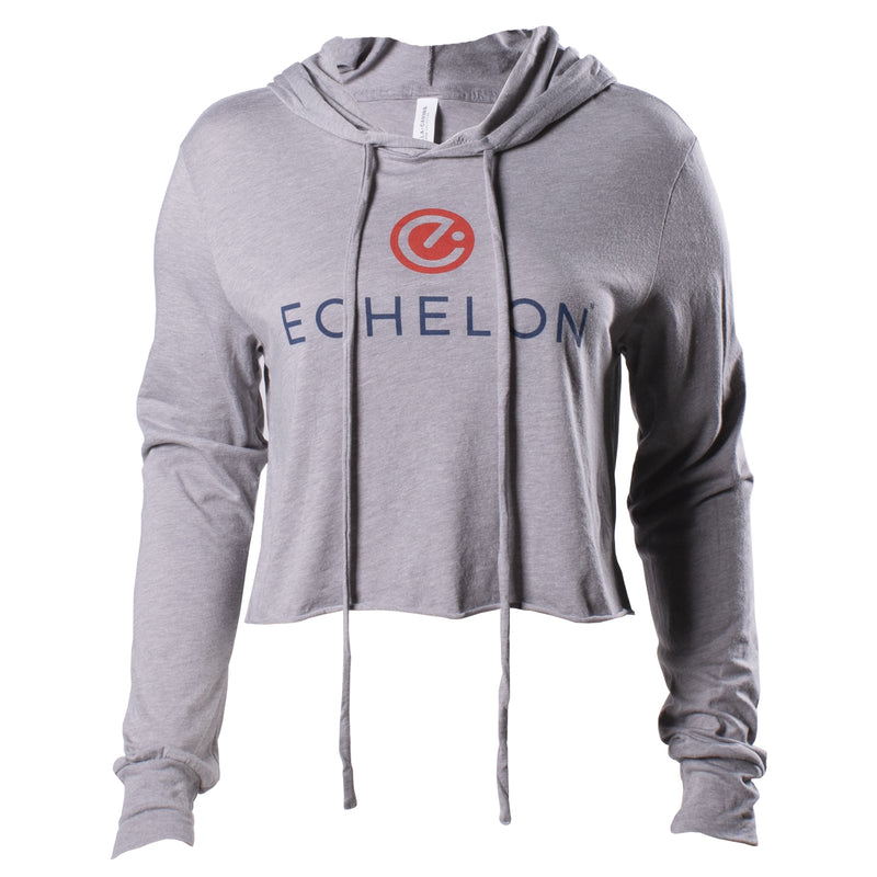 Echelon Women's Cropped Grey Stacked Logo Hoodie