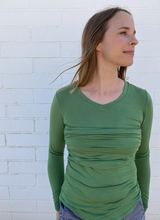 Load image into Gallery viewer, 'Green Grass' Long Sleeve Ruched Shirt