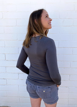 Load image into Gallery viewer, Charcoal Gray Long Sleeve Ruched Shirt