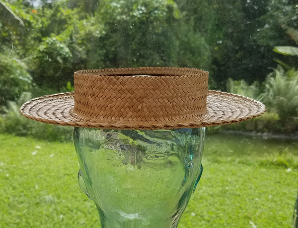 20.75 Inch Papale Pa'ole Piko'ole Crownless Kona Lauhala Hat Made in Hawaii
