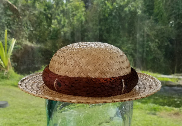19.25 Inch Kona Lauhala Papale Derby Hat with 1.75 Inch Brim Made in Hawaii