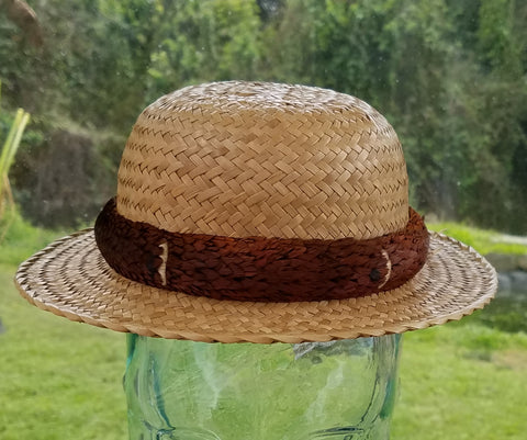 21 Inch Kona Lauhala Papale Derby Hat with 2 Inch Brim Made in Hawaii
