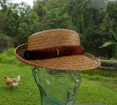 22.25 Inch Kona Papale Lauhala Flat Top Hat Made in Hawaii