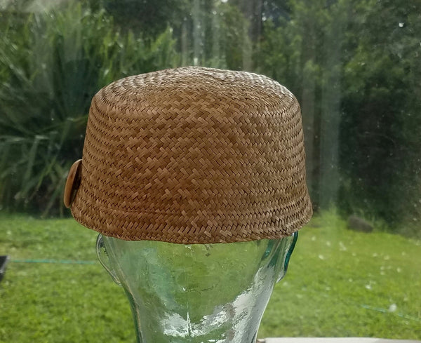 22.5 Inch Hawaiian Lauhala Cadet Cap with Coffee Wood Button back