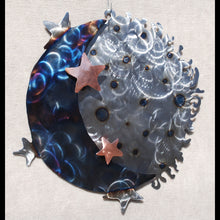 "Load image into Gallery viewer, Moon, Stars and Sun 3-D Metal Wall Art Sculpture with Copper Stars 11"", 17"" or 26"" - Mountain Metal Arts"